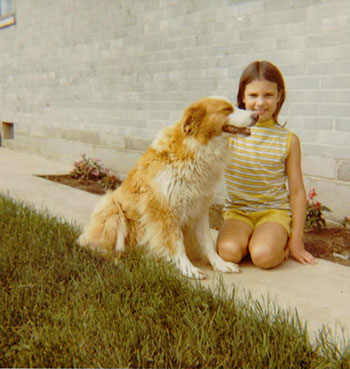With our loyal dog, Lassie